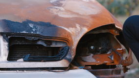 幅射器被烧的汽车 股票视频