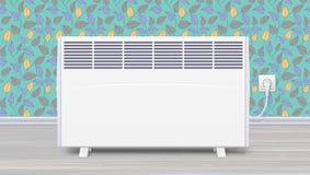 幅射器装置电盘区空间供暖的在室内部 有插座的国内电暖气和 向量例证