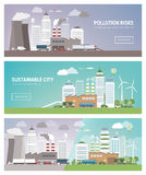 干净和被污染的城市 库存照片