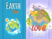 干净和被污染的行星世界地球日横幅  向量例证