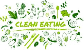 干净的吃概念:健康和平衡的食品项目-例证 库存例证