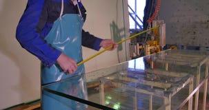 干净的工作者和烘干在制造的玻璃 微笑的中间成人工作者清洁用肥皂擦洗在玻璃窗的sud与橡皮刮板 股票视频