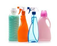 干净的房子的清洁产品塑胶容器 免版税库存图片