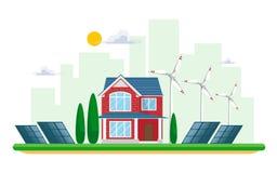 干净的电能的传染媒介例证从太阳和风的可更新的来源的在白色 与太阳平底锅的能源厂大厦 向量例证