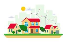干净的电能的传染媒介例证从风的可更新的来源的在白色背景的 与太阳的能源厂大厦 向量例证