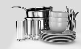 干净的餐具堆 库存例证