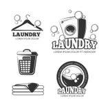 干净的洗衣店洗涤的葡萄酒传染媒介标签,象征,商标,被设置的徽章 向量例证
