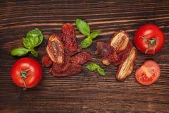 干和新鲜的蕃茄 免版税库存照片