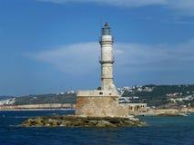 干尼亚州威尼斯式灯塔,在干尼亚州旧港口的古迹在克利特海岛上 免版税库存照片