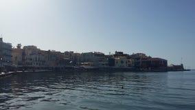 干尼亚州美丽的港在克利特,希腊 免版税图库摄影