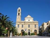 干尼亚州镇,克利特,希腊大教堂教会  免版税图库摄影