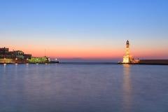 干尼亚州,克利特旧港口的看法  库存照片