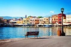 干尼亚州,克利特,希腊威尼斯式habour  免版税库存图片
