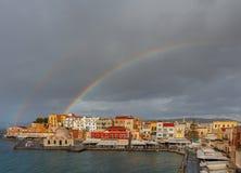 干尼亚州 在老港口的彩虹 库存照片