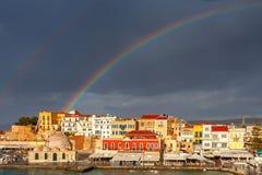 干尼亚州 在老港口的彩虹 免版税库存照片