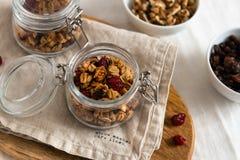 干早餐谷物 有亚麻籽、蔓越桔和椰子的嘎吱咬嚼的蜂蜜格兰诺拉麦片碗 健康,vegeterian纤维食物 图库摄影
