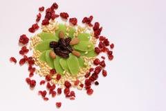 干果子和坚果-犹太人的假日Tu Bishvat的标志 免版税图库摄影