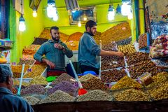 干果子待售,马拉喀什 免版税库存照片