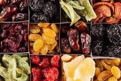 干果子特写镜头背景的分类在方形的细胞的 干异乎寻常的果子的装饰样式 免版税库存照片