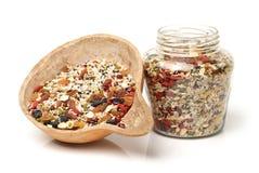 干枣、coix种子、花生和红色原材料  库存图片