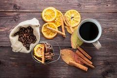 干桔子和柠檬、咖啡豆在袋子,桂香和下落的秋叶 库存图片