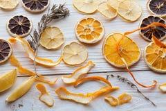 干桔子和柠檬切片 免版税库存照片