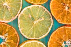 干桔子和柠檬,特写镜头 免版税库存图片