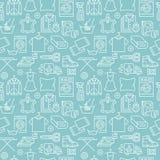 干洗,与线象的洗涤蓝无缝的样式 洗衣店服务设备,洗衣机,衣物 向量例证