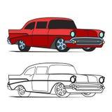 干涉汽车动画片经典传染媒介海报和彩图的 免版税库存图片