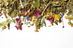 干清凉茶 酿造茶的各种各样的芬芳草本 顶视图 免版税库存照片