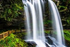 干瀑布, Cullasaja河的在Nantahala国家森林里, 免版税库存图片