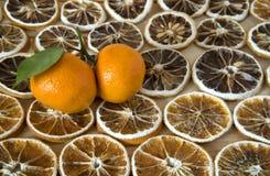 干燥切片柠檬和新鲜的普通话 免版税图库摄影