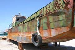干燥小船的码头 库存图片