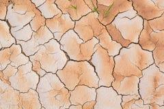干燥气候关闭使沙漠干燥地面土壤发笑 破裂的地面在沙漠 免版税库存照片