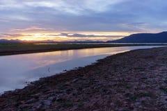 干燥江边的区域,因为没有雨 免版税图库摄影