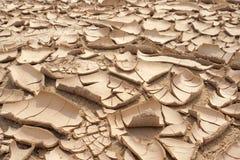 干燥破裂的地球背景,黏土沙漠特写镜头  免版税图库摄影