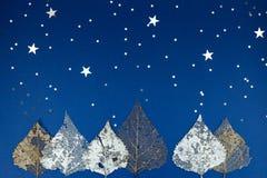 干燥银叶和五彩纸屑在蓝纸 免版税库存照片