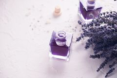 干的淡紫色开花宏观照片 定调子 文本的空间 温泉和放松概念 免版税库存图片