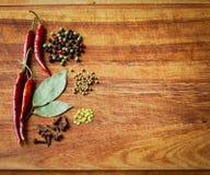 干红辣椒和香料在土气,黑暗的木切口 库存照片