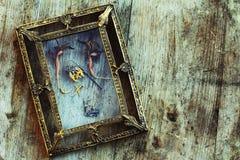 干花和一只死的蝴蝶在一个老画框 图库摄影