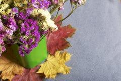 干花花束在一个绿色花瓶的在不同的颜色下落的秋叶站立  所有这在布料灰色背景 库存图片