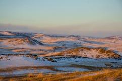 干草原的美丽的景色 库存图片
