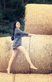 干草堆背景的美丽的女孩  库存图片