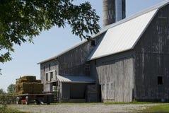 干草无盖货车和老谷仓 库存图片