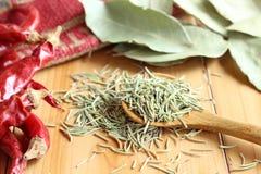 干草本和香料、迷迭香、海湾叶子和红辣椒 免版税库存照片