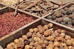 干草本在Deira开花在香料souq的香料 免版税库存照片