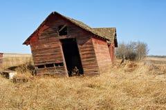 干草的被放弃的老棚子 免版税库存照片