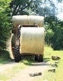 干草被装载的拖拉机 免版税图库摄影