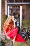 干草谷仓的美丽的白肤金发的时髦的女人 免版税图库摄影