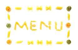 干菜单意大利面食形状 库存照片